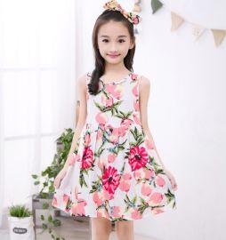 春夏装童装女童公主裙儿童小女孩蓬蓬连衣裙背心裙绵绸家居裙