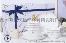 家用陶瓷碗勺金天鵝禮品碗筷套裝