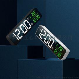 新款LED家用电子闹钟镜面音乐时钟