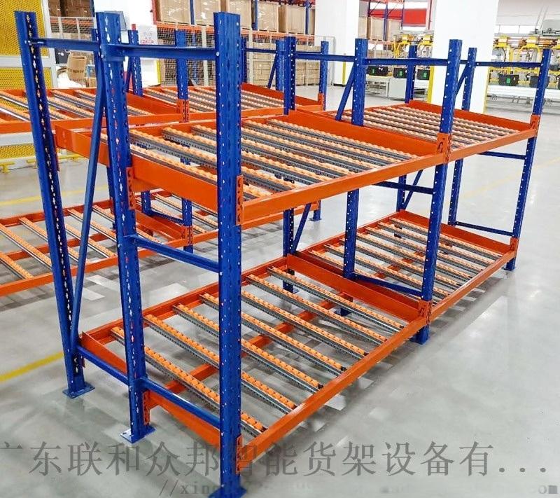 重型仓储流利条货架滑移式滚轮货架先进先出式流利货架
