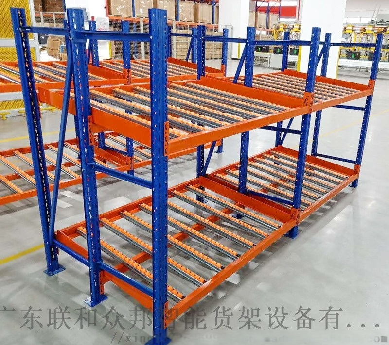 重型倉儲流利條貨架滑移式滾輪貨架先進先出式流利貨架