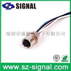 盛格纳电子M12 D型号4pin母头连接器