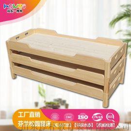 幼儿园实木床儿童芬兰松圆腿床