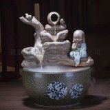批发 陶瓷桌面假山流水喷泉鱼缸雾化加湿器 陶瓷喷泉