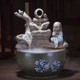批發 陶瓷桌面假山流水噴泉魚缸霧化加溼器 陶瓷噴泉