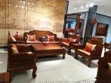 缅甸花梨木福林堂红木家具组合沙发松鹤延年沙发
