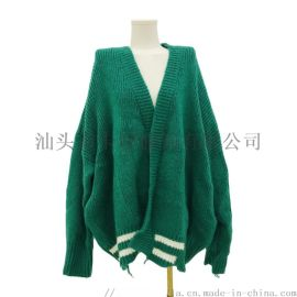 2020时尚开衫V领学院风女式针织夹克