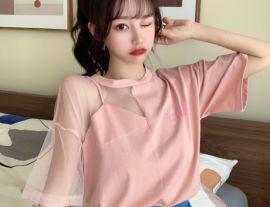 短袖2020年新款女t恤時尚大碼洋氣上衣網紗拼接百搭潮