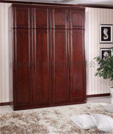 木言木语实木家具定制黄菠萝木衣橱中式实木衣橱带顶箱