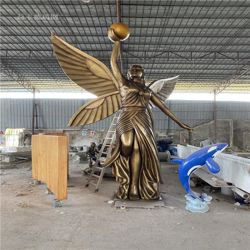 甘肃楼盘景观天使人物雕塑 玻璃钢胜利女神雕塑