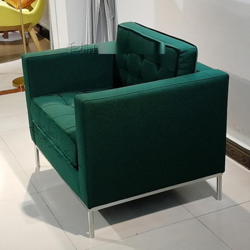布艺皮革不锈钢实木框架单人沙发 休闲椅家具定制