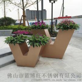 厂家直接定制室内室外园林景观种植不锈钢花箱烤漆花箱