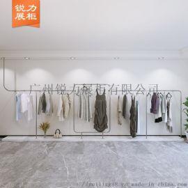 新款韩版风格女装展柜 金色上墙服装展示架 全国发货