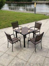 工地项目定做休闲实木桌椅,铝塑户外餐桌椅