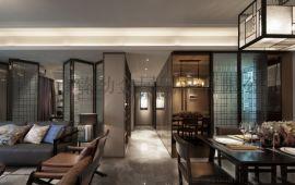 新中式客厅金属花格移动玄关轻奢六角花玻璃隔断