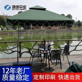 現貨鋁合金庭院傘四方邊崗亭傘側立傘戶外家用休閒大遮陽傘