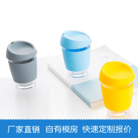 12oz 350ml咖啡杯 硅胶玻璃水杯防溅带盖