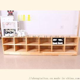 幼儿园实木鞋柜,儿童多功能鞋架,木质教具柜厂家