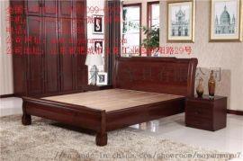 中式实木卧室双人床纯实木家具**木言木语