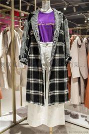 秋冬新款修身反季毛呢女装加厚折扣双面羊绒大衣