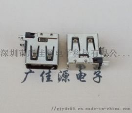 USB4P接口USB侧插/立插母头14mm黑胶直边
