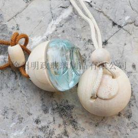 高质量挂饰车用车载香水香薰球形圆形玻璃瓶和木盖子