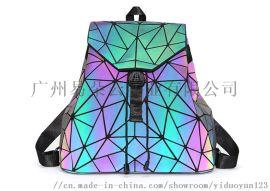 夜光双肩背包**热卖几何菱格镭射学生书包户外包