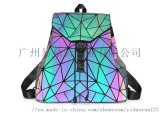 夜光雙肩揹包亞馬遜熱賣幾何菱格 射  書包戶外包