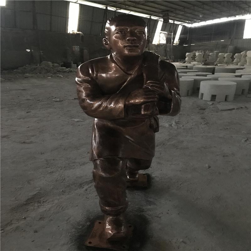 肇庆玻璃钢雕塑模型 公园仿铜情景人物雕塑
