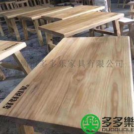 专业定做木屋烧烤实木餐桌椅可雕刻logo