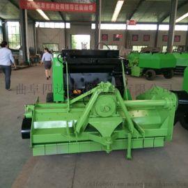 拖拉机牵引稻草自动捡拾粉碎打捆机,收割粉碎打捆机