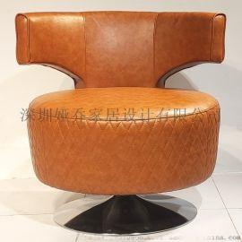 蝴蝶背单人沙发 高靠背休闲椅