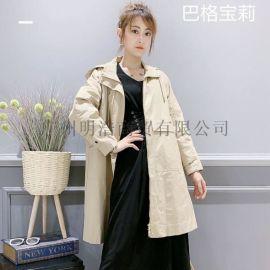 简洁时尚女装品牌巴格宝莉爆款风衣库存货源
