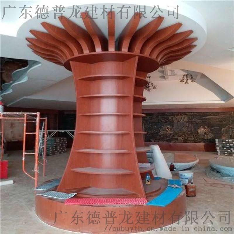 溫泉酒店包柱鋁單板  酒店中式仿木包柱鋁單板裝飾架