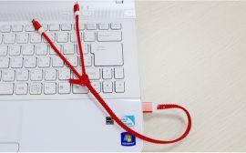数据线一拖二礼品套装定制logo铝合金拉链数据线