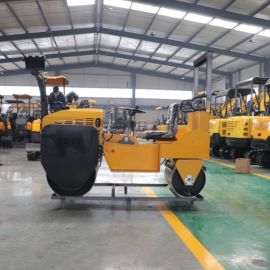 供应手扶式双钢轮压路机3吨 手推式小型振动压路机