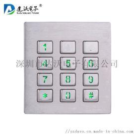 12键背光键盘 IP65防水键盘 不锈钢小键盘