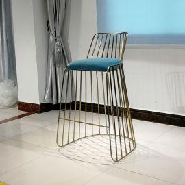 实心不锈钢吧椅电镀香槟金高脚吧椅