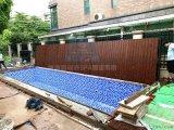 自动游泳池盖 电动折叠式泳池盖 防腐木泳池盖板