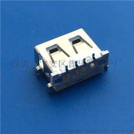 USB 2.0 AF短体母座 4P 沉板反向 90度四脚插板DIP 直边 白色胶芯