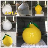 """""""柚""""是一年好时节基地入口装饰玻璃钢马家柚雕塑景观"""