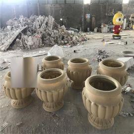 佛山大型玻璃钢雕塑厂家定制仿砂岩花盆造型雕塑