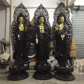 昌東銅雕佛像,銅雕西方三聖,銅西方三聖生產定做廠家