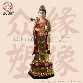 合掌觀音菩薩 雕塑彩繪   神像 寺廟供奉佛像