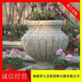 石头雕刻花盆 石雕花钵价钱