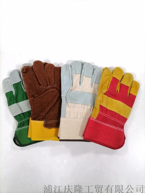 短款全牛皮電焊手套焊工焊接機械搬運勞工防護手套