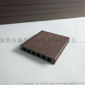 142*25户外长条塑木圆孔地板学校小区游泳池咖啡厅阳台生态木防腐