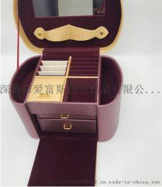 厂家直销新款时尚拼接风格创意定制珠宝包装盒pu绒布饰品包装盒子