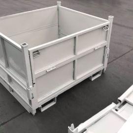 折叠式铁框架金属周转箱 定制非标金属箱折叠式仓储笼