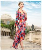 布卡2020新款寬鬆苧麻拼接裙子設計師服裝進貨
